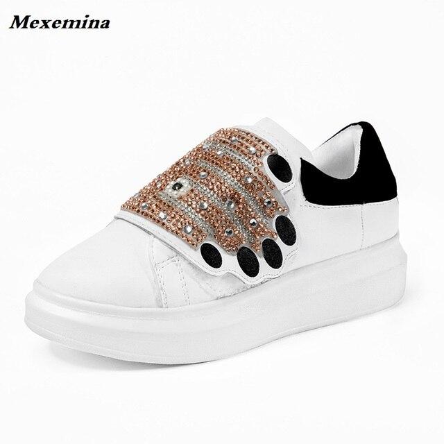 2018 Luxury Designer Women s Leather Sneakers Bling Bling Crystal Hook Loop  Footwear Platform White Casual Shoes Woman 4b210623a