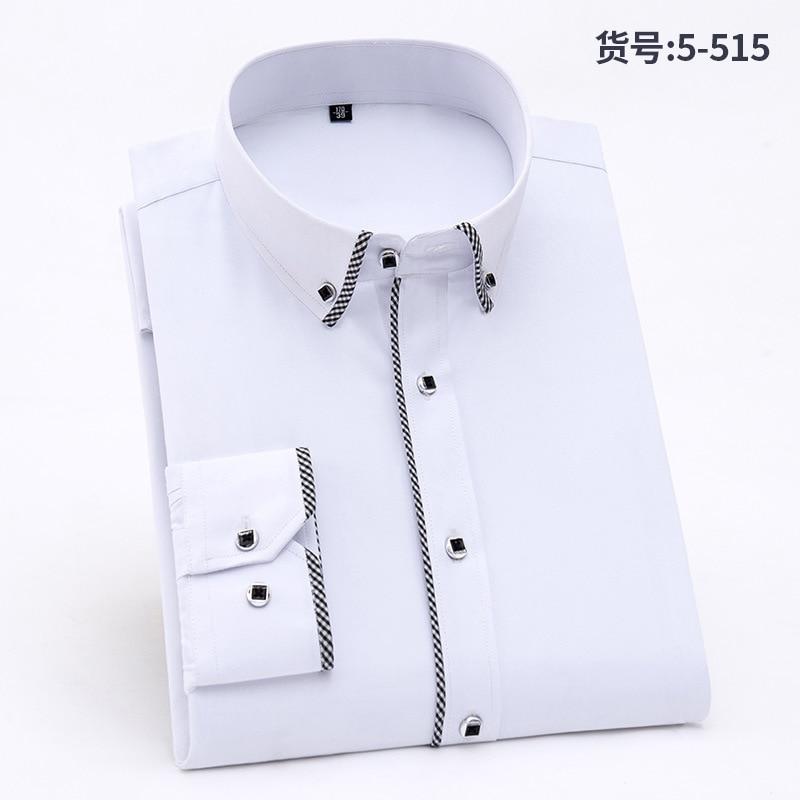 2018 Men Long Sleeve Shirt Business Casual Splicing No Iron Shirt