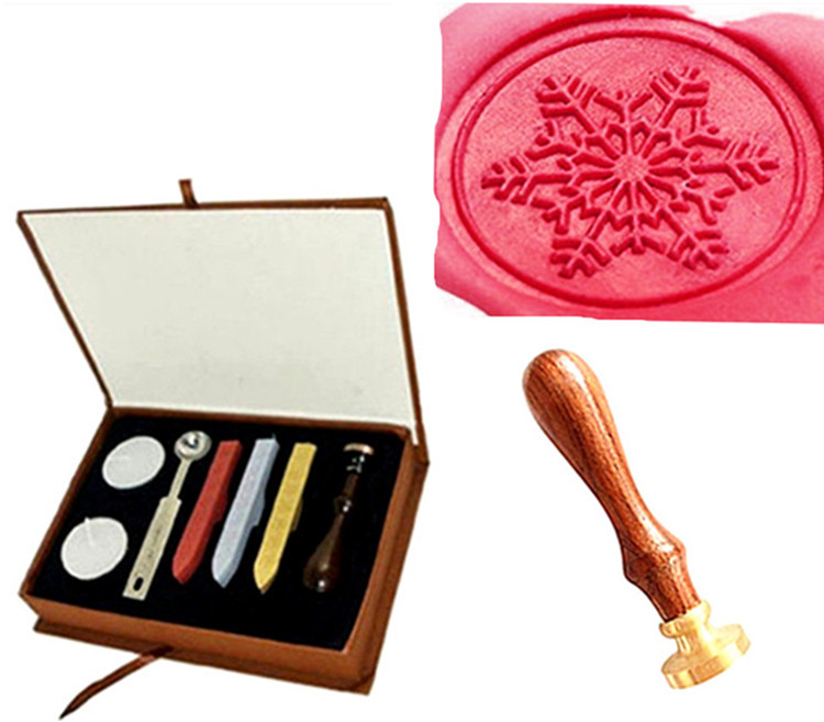 Vintage Snowflake Fancy Christmas Custom Picture Logo Wedding Invitation Wax Seal Sealing Stamp Sticks Spoon Gift Box Set Kit lace fower vintage wedding invitations laser cut blank paper pattern printing invitation card kit ribbons decorations