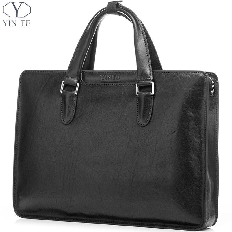 YINTE 2016 Genuine Leather Men's Black Briefcase Famous Luxury Men's Bag High Quality Business Handbag Totes Portfolio T8359-5 цена и фото
