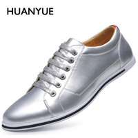 2017 New Spring/Autumn Men Casual Shoes High Quality Plus Size Men Shoes Breathable Pu Leather Leather Shoes Men Silver 45,46,47