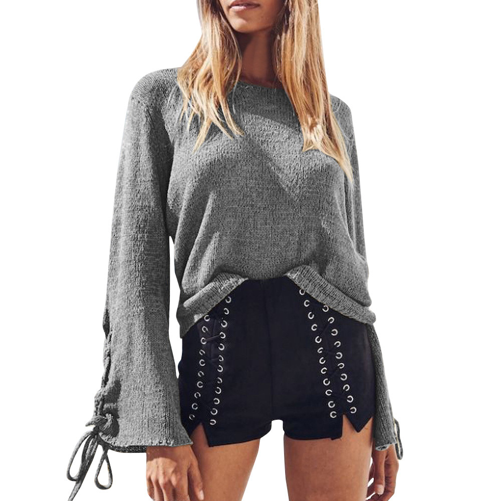 Womens Sweaters Fashion Design Stylish Sweater Knitted Baggy Jumper Knitted Tops Bow-Tie Flare Sleeve Pullovers knitwear se192