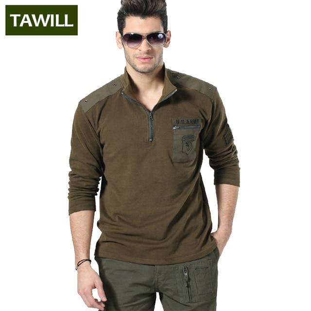 TAWILL 2016 Новая Военная Тонкий рубашки Поло мужская Air force one Печать Конструкции солдат армии марка одежда Азиатский размер 6007