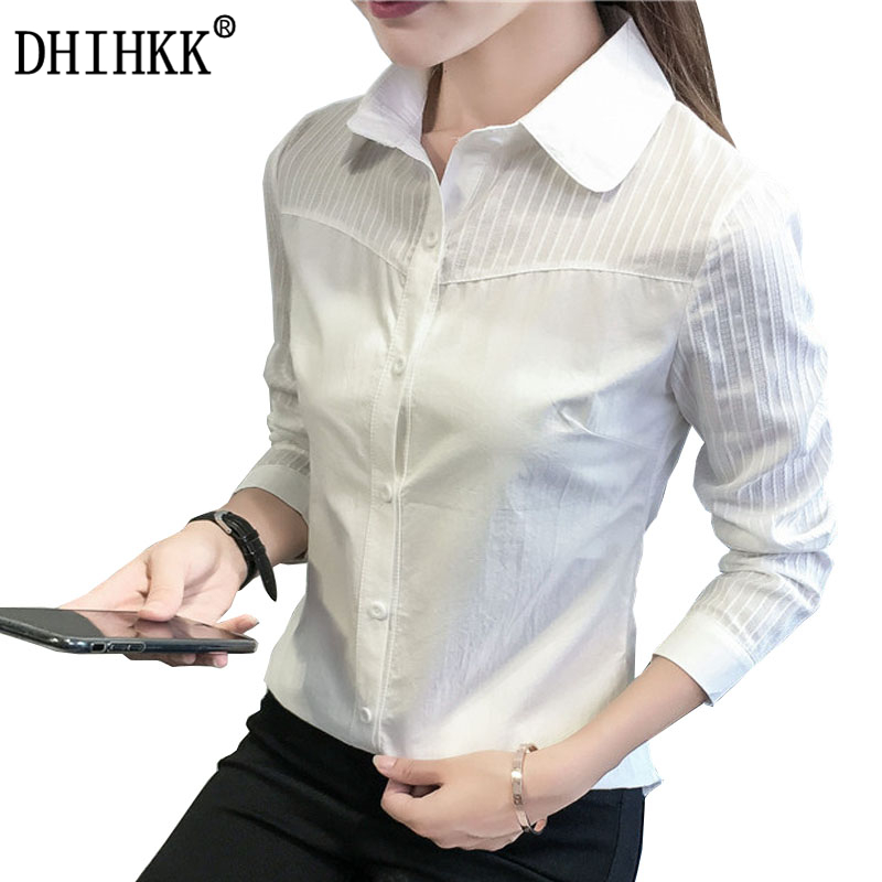 DHIHKK Official Store DHIHKK 2017 New Office Lady White Shirts Blouse long sleeve Shirts cotton Blouse Slim Fit Lady tops Size S-XL