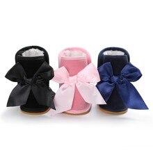 Новинка; зимняя обувь для маленьких девочек и мальчиков с большим бантом на резиновой подошве; бархатные теплые детские ботинки; M1