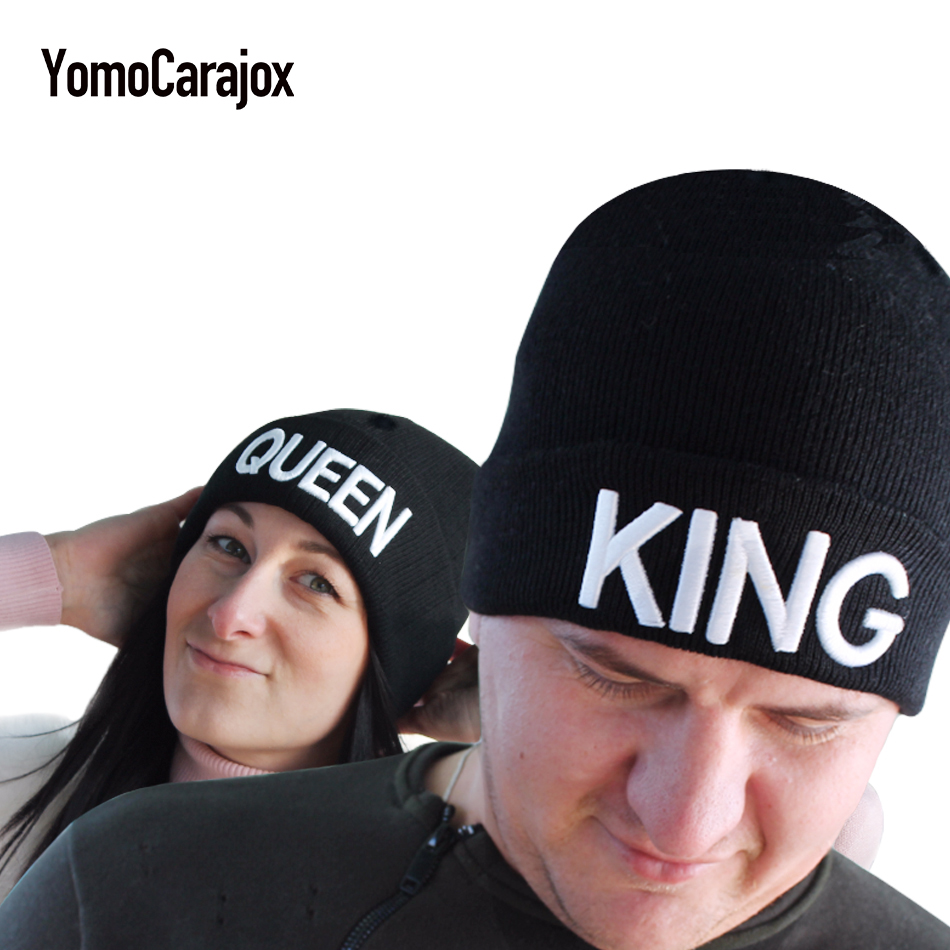 Warm Winter Autumn Elastic 2017 New KING QUEEN Beanies Knit Couples Caps Skullies Bonnet Hats For Men Women Beanie Ski Sports