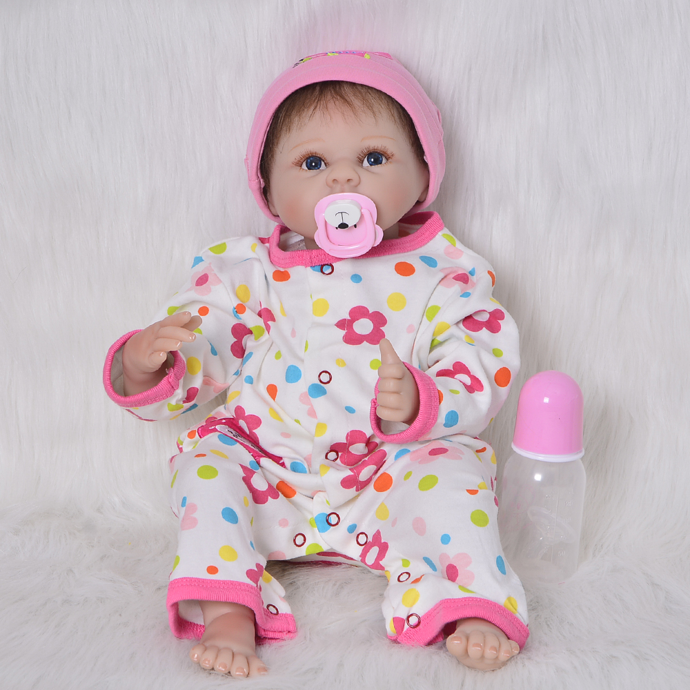 Lifelike Baby Doll 22 inch Babies Reborn Dolls Toy Silicone Vinyl Newborn Baby Doll Cloth Body 2018 Christmas Gift Kid Playmates handmade chinese ancient doll tang beauty princess pingyang 1 6 bjd dolls 12 jointed doll toy for girl christmas gift brinquedo