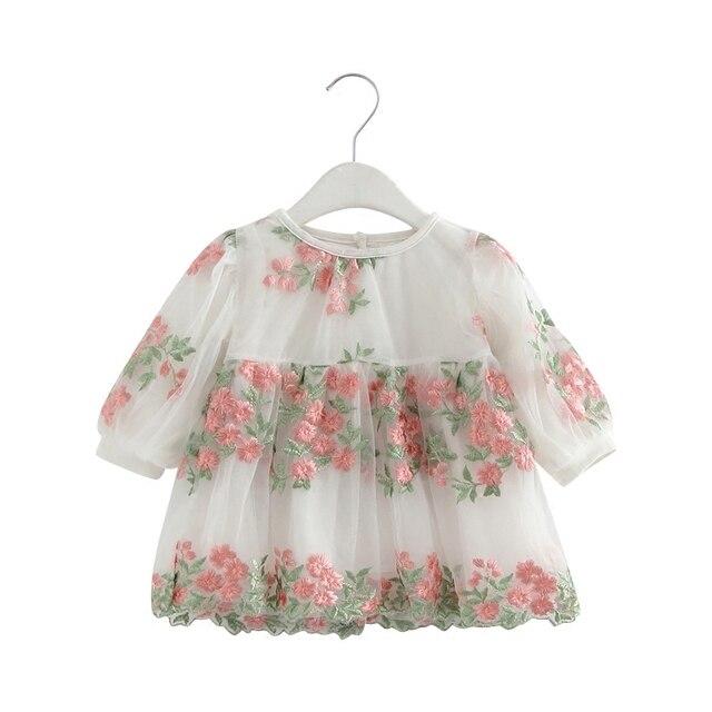 2019 פרח Embriodery פנס שרוול תינוקת יום הולדת שמלת פעוט ילדה הטבלה שמלת תינוק נסיכת מסיבת שמלות 0-2 T