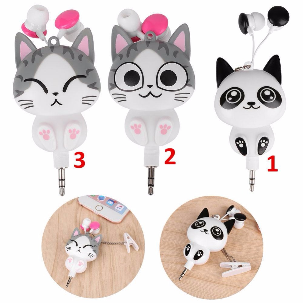 MVpower Cute Cheese Cat bear Panda Cartoon Retractable MP3 MP4 Earphone for Android iOS Smart System Headphone handsfree Earbuds