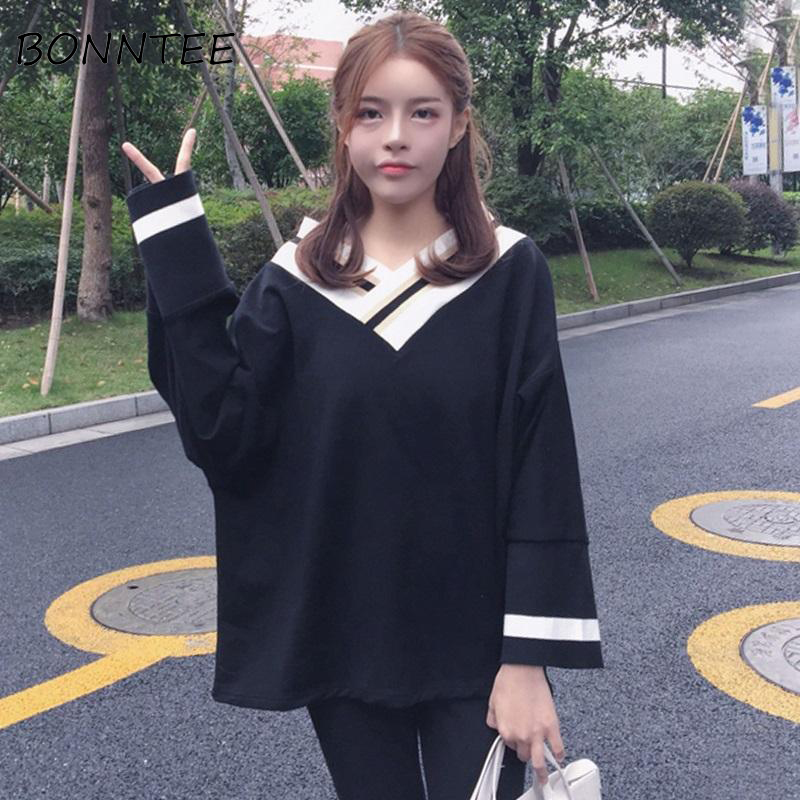 Hoddies Women V-Neck Loose Patchwork Striped Sweatshirts Womens Chic Thin Long Sleeve Pullover Daily Fashion Korean Style Casual