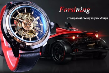 Forsining Motorcycle Design Transparent Genuine Red Black Belt Waterproof Skeleton Men Automatic Watches Top Brand Luxury Clock 1