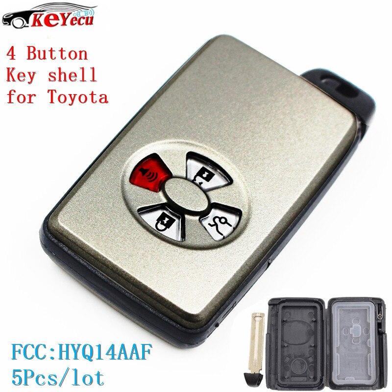 KEYECU 5Pcs/lot New Remote Key Shell Case Fob 3B+Panic Button for Toyota Avalon Camry Corolla Yaris Highlander FCC ID:HYQ14AAF