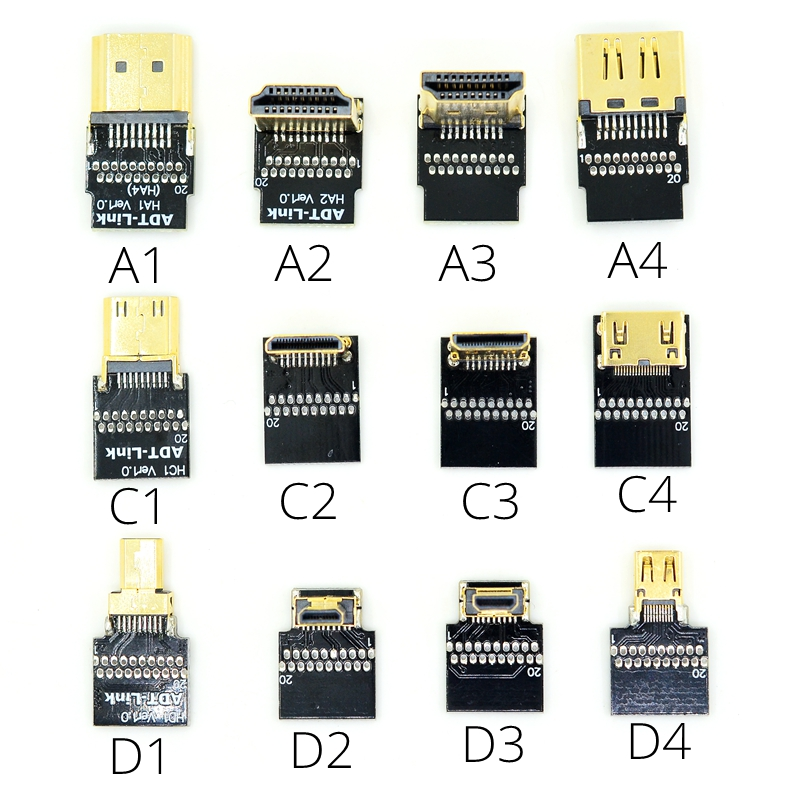 Micro HDMI para HDMI 2.0 Cabo de 1 m 2 m 3 m 4 K Macho-Macho HDMI A C D Tipo de Adaptador conversor HDTV cabo para Tablet Telefone Câmera PC