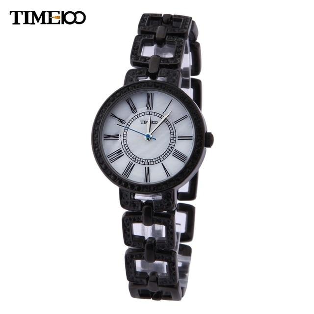 1c6b64bdf5b Tempo 100 Retro Relógios Femininos Cinta de Quartzo Aço Inoxidável Numeral  Romano Strass Relógio Casual de
