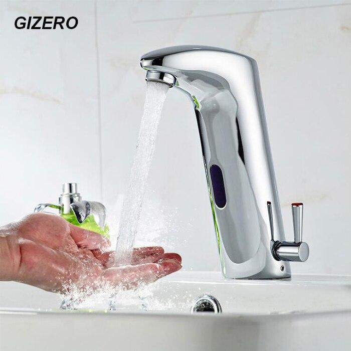Robinet à capteur automatique Bassin Évier eau Chaude et Froide Mélangeur Mains Libres Sans Contact Chrome Poli meuble lavabo Robinet ZR1013