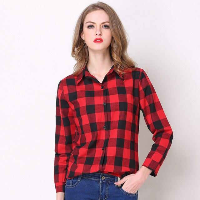 fc860d9632 Camisa xadrez vermelho e preto das mulheres Lapela Magro Camisa de Manga  Longa de algodão branco