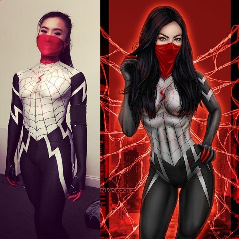 2018 Silk Spider Costume Marvel Superhero Silk Cindy Moon Spider Spandex Zentai Suit Halloween Fullbody Spiderman Catsuit