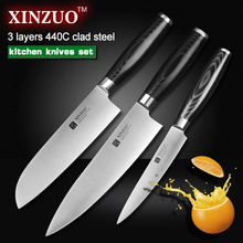 XINZUO 3 pcs kitchen knife set utility Chef knife 3 layers 440C clad steel Kitchen Knife super sharp santoku knife free shipping