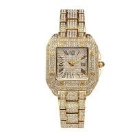 Hot Luxury Fashion Women Watches Gold Diamonds Ladies Quartz Watch Square Hours Female Clock Famous brand Wrist Watch 2017 New