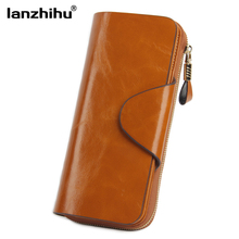 100% Real Leather Zip Wallet for Women Famous Brand Luxury Designer Wallets Ladies Zipper Coin Purse Genuine Leather Clutch