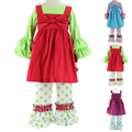 New Girls 3pcs Clothing Sets Baby Kids Clothes Suit Children long Sleeve Shirts +Tunic Dress+Pants roupas infantil meninas