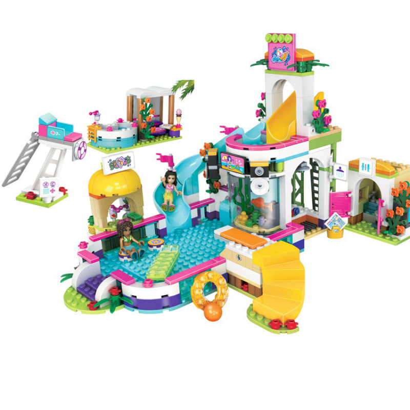 37029 The Heartlake Summer Pool Friends 41313 01013 Building Blocks Bricks Figure Toys Compatible with Legoe Friends waz compatible legoe friends 41313 lepin 01013 589pcs building blocks the heartlake summer pool bricks figure toys for children