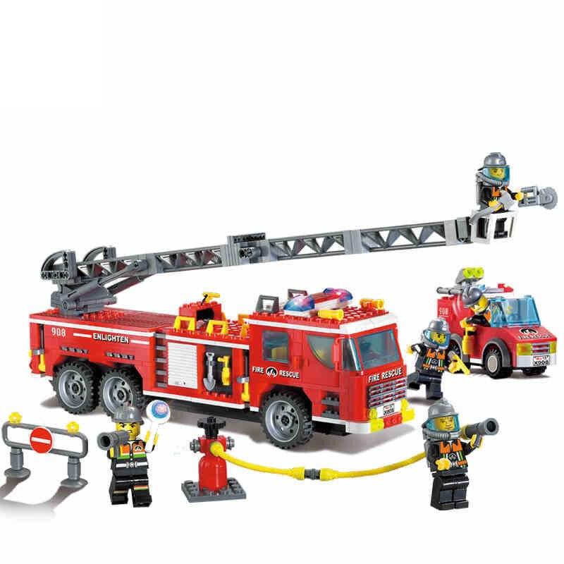 607pcs Fire Fighting Heavy Trucks Car Water Pump Building Blocks Compatible legoed City Firefighter figures Block Children Toys