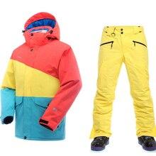 Top Quality 2016 ski suit men Breathable Waterproof Ski Jacket men Snow Sets Winter men's ski suit Thicken Warm Snowboard Jacket