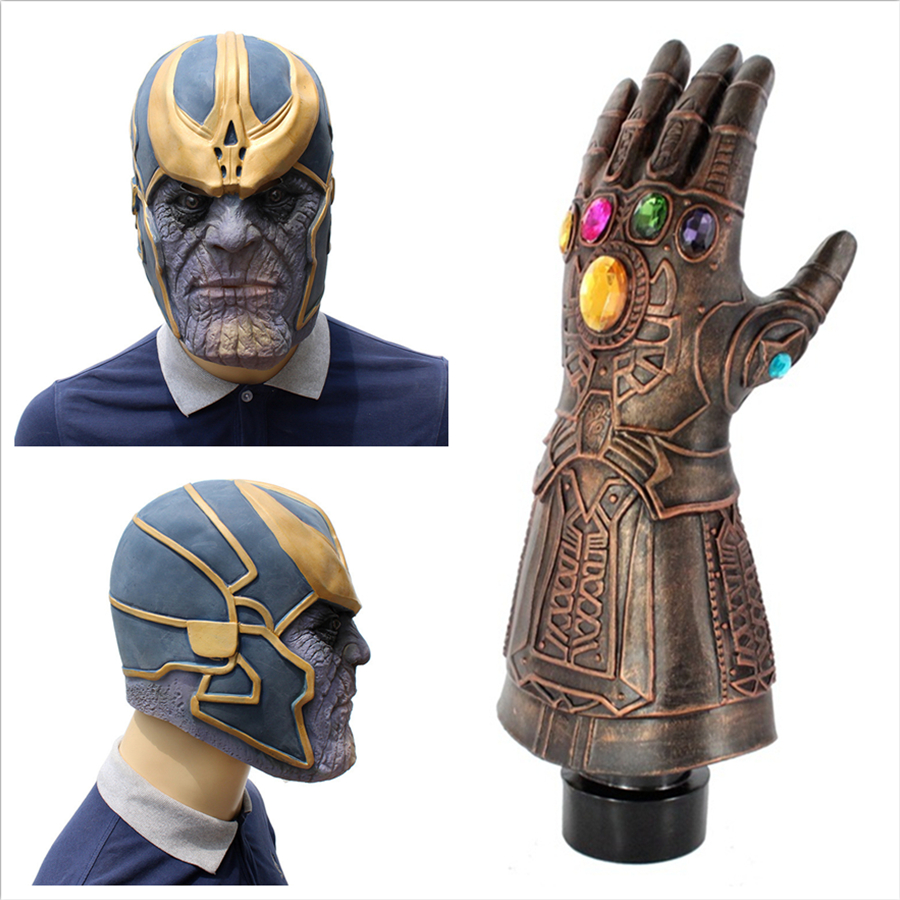 The Avengers 3 Infinity War Thanos Incessant Gloves Mask Latex Cosplay Super hero Halloween Party Props Free delivery