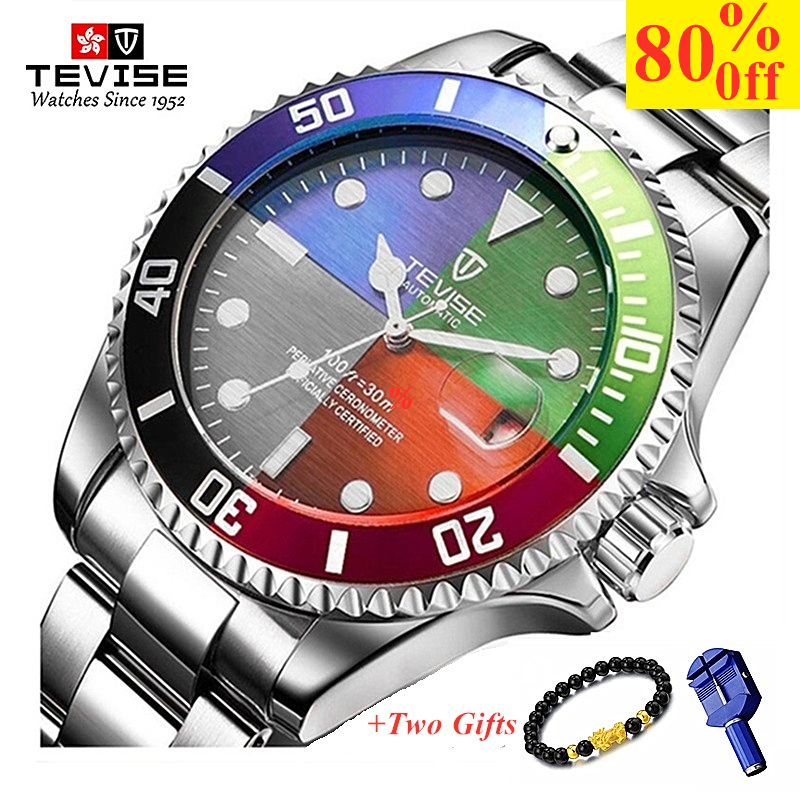 TEVISE Fashion Mens Watches Top Brand Luxury Casual Quartz Watch Men Stainless Steel Waterproof Sport Watch Relogio Masculino