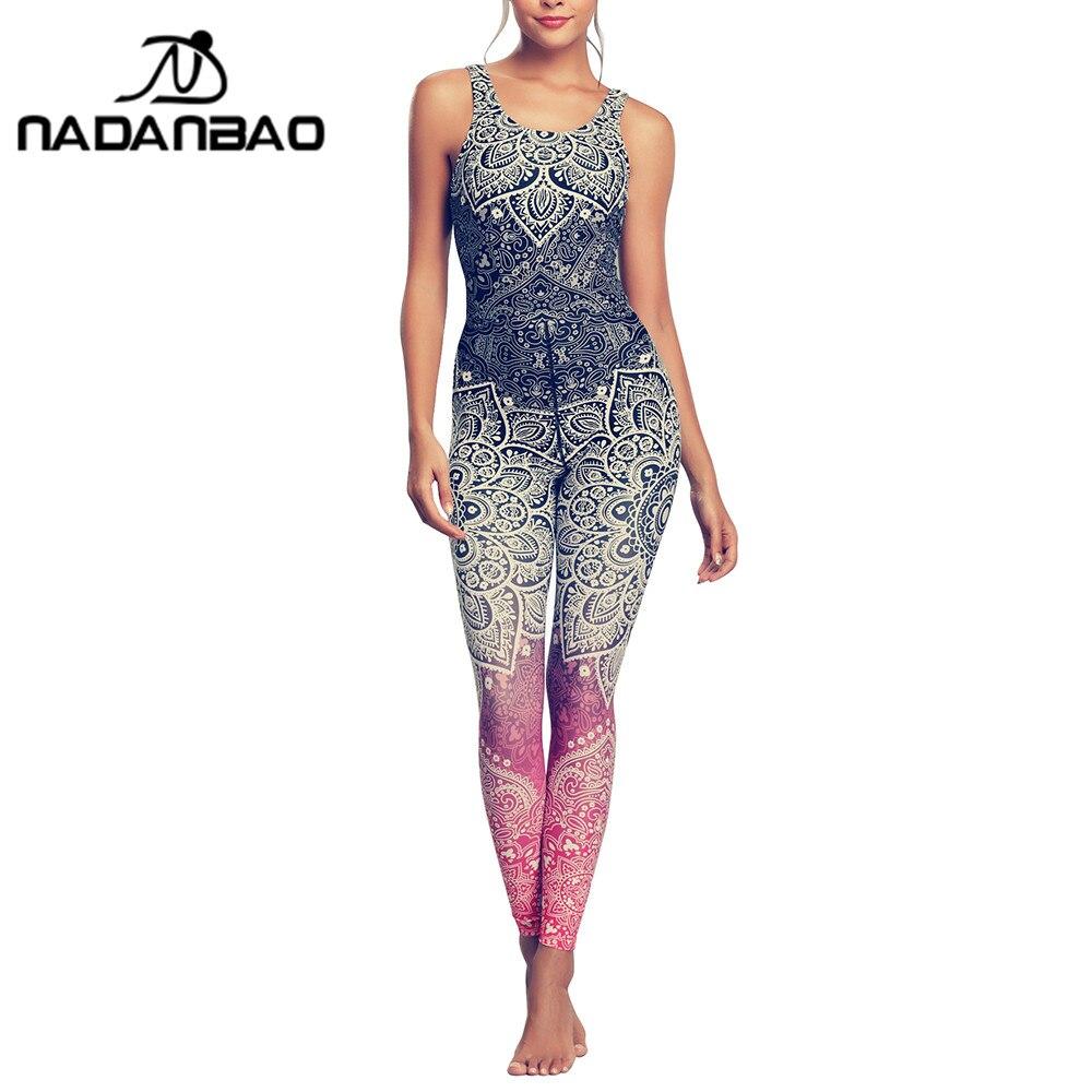 NADANBAO Mandala combinaison pour femmes Sexy dos nu vêtements impression 3D Floral body mode sans manches Catsuit 2019