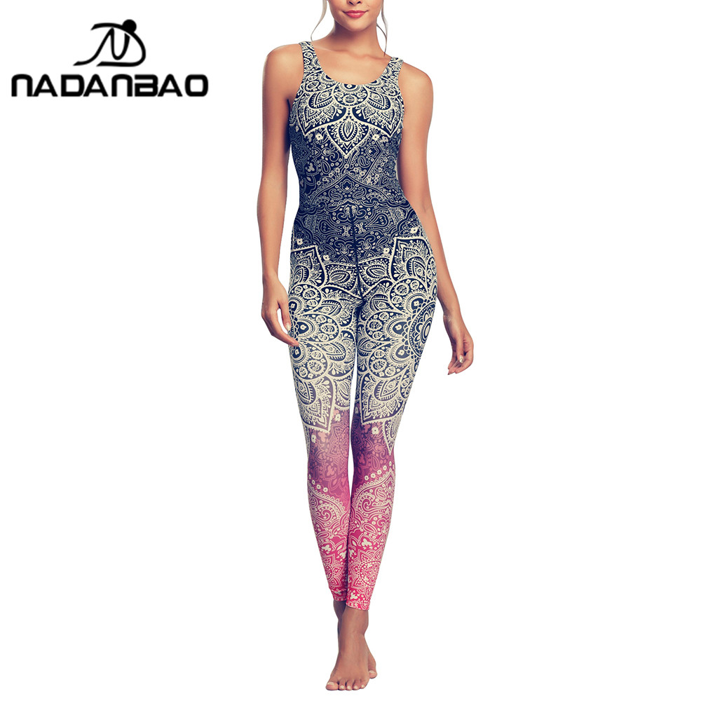 NADANBAO Mandala   Jumpsuit   For Women Sexy Backless Clothing 3D Printing Floral Bodysuits Fashion Sleeveless Catsuit 2019