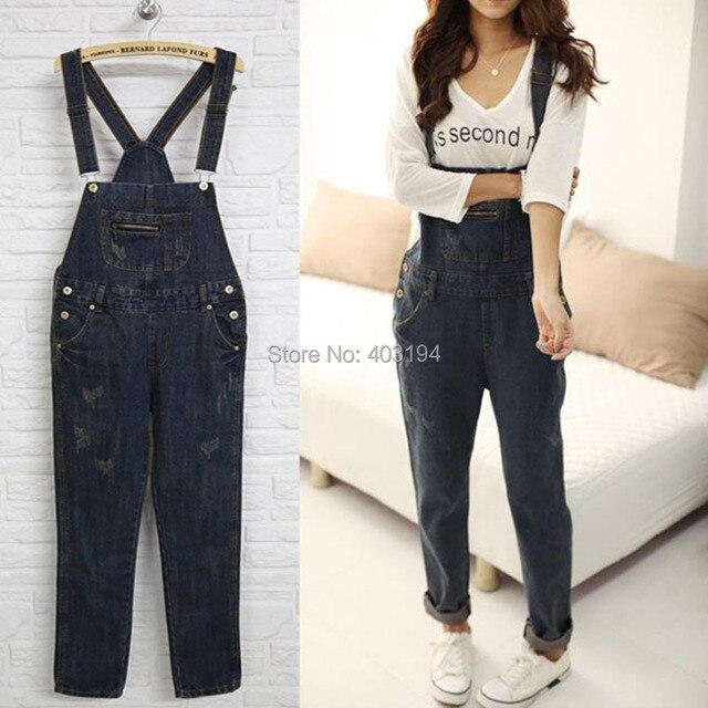 d44e9c3ea6 2014 Spring Women Bib pants personality loose denim Jeans Woman spaghetti  strap jumpsuit trousers female Size S M L KS8