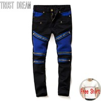 TRUST DREAM European Style Men Fashion Slim Washed Jeans Black Blue Spliced Personal Stretch Man Moto