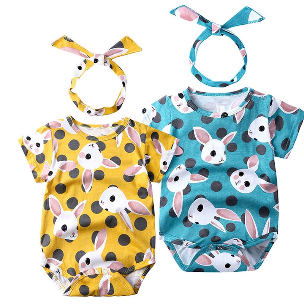 MUQGEW Baby Girl Clothes Newborn Infant Baby Girls Cartoon Rabbit Print Romper Bodysuits Playsuit Dropshipping Roupa Infantil