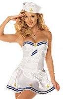 Sexy Lingerie Navy Sailor Uniform Cosplay Nightclub Striped Anchor Printing Women Tube Big Swing Dress Sets