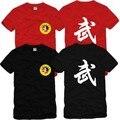 2016 verão novo padrão de Associação Wushu tai chi roupas de algodão 100% o-pescoço curto-luva t-shirts t-shirt dos homens vestido Masculino camisa de T