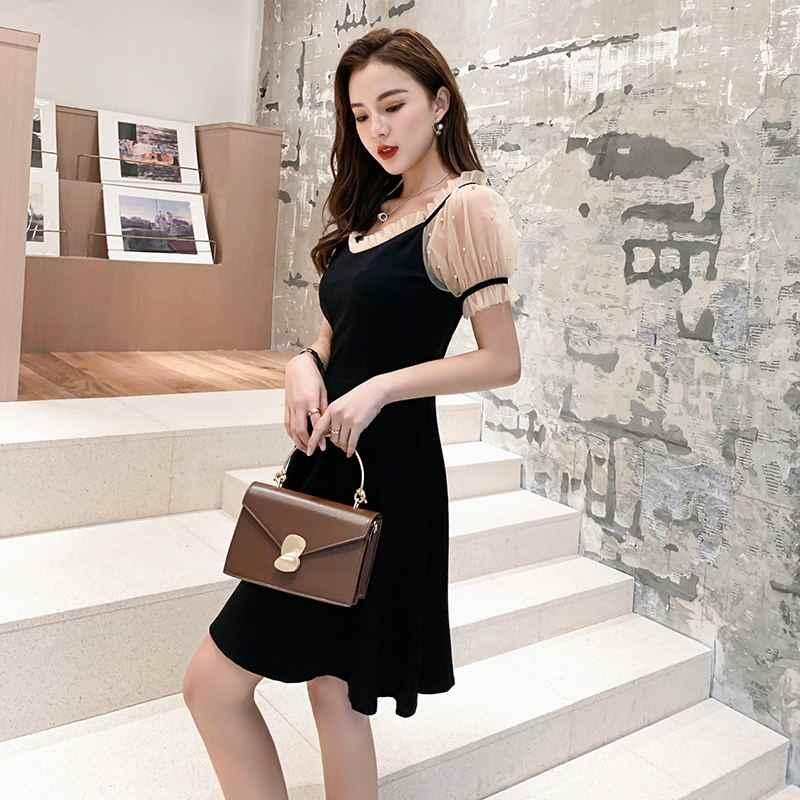 2019 летние женские платья, однотонное черное повседневное корейское платье с коротким рукавом для отдыха, миди, расклешенное платье для женщин