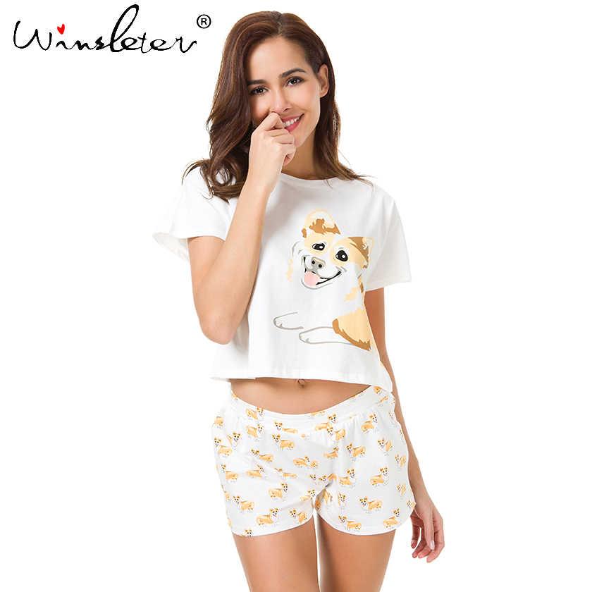 736a2c1e343 Ship From The US Corgi Pajamas Women Dog Print Crop Top Shorts 2 Pieces Set  Cotton