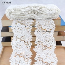 wedding decoration trim african lace fabric 2019 high quality DIY 1yard Watersoluble milk silk embroidery wide lacefabrics