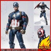 100% Оригинальные BANDAI Tamashii Наций S. h. figuarts (СВЧ) фигурку Капитан Америка от Капитан Америка: Гражданская война