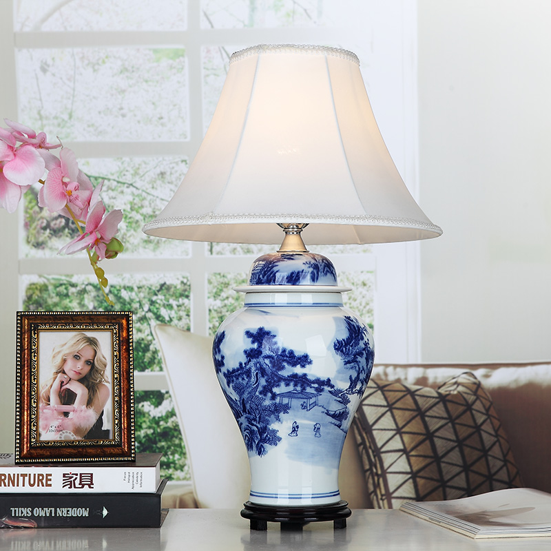 US $278.0 |Vintage chinese bedroom living room wedding table lamp  Jingdezhen porcelain ceramic table lamp art blue table desk lamp-in Table  Lamps from ...