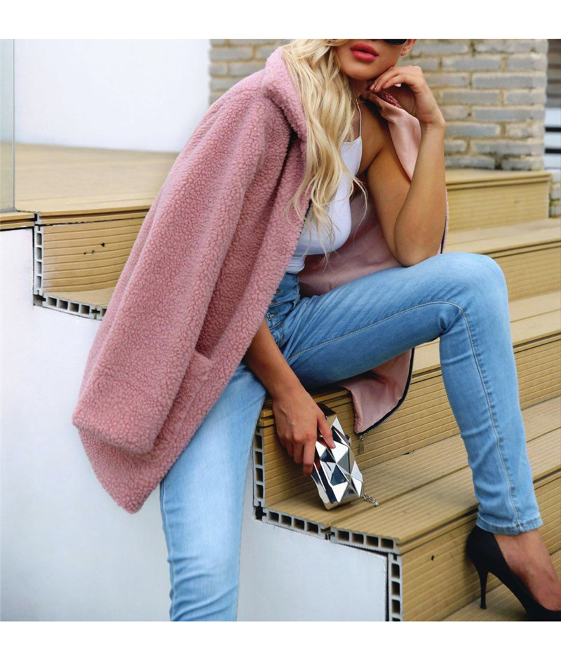 Europe and the United States street photo lapel imitation fur plush coat multi-color long wool coat (3)
