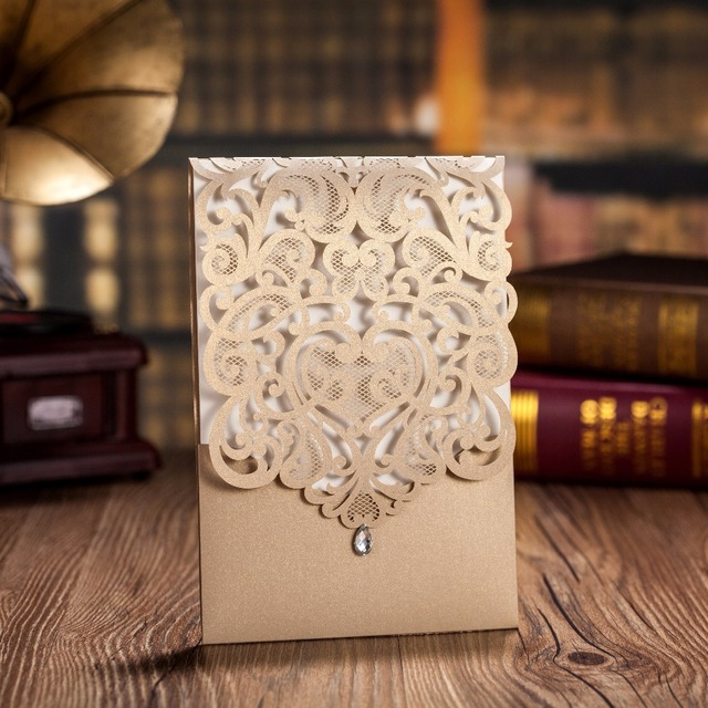 50pcs Lot Wholesale Wedding Invitations Elegant Laser Cut Wedding
