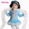 Blue Princess Girls Clothes Elsa Dress Ice snowflake Long Sleeve Party movie Character headband 2Piece Cotton baby Girl Clothing