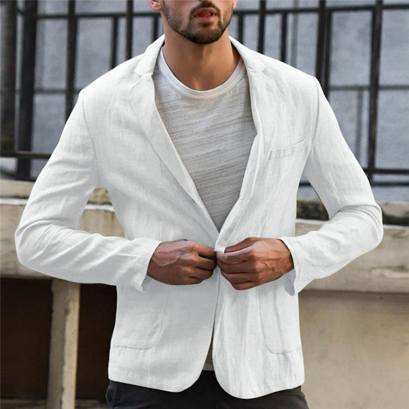 New 2019 Summer Men Slim Fit Linen Blend Casual Blazer Pocket Solid Long Sleeve Suits Blazer Jacket Outwear #E09 (25)