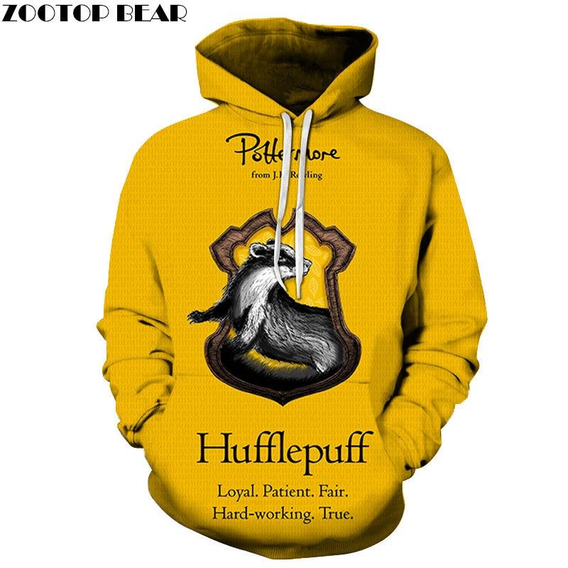 Yellow Hufflepuff Men Hoodie Casual Movie Game Streetwears Long Sleeves 3D Print Mens NEW Fashion Anime Sweatshirts ZOOTOP BEAR