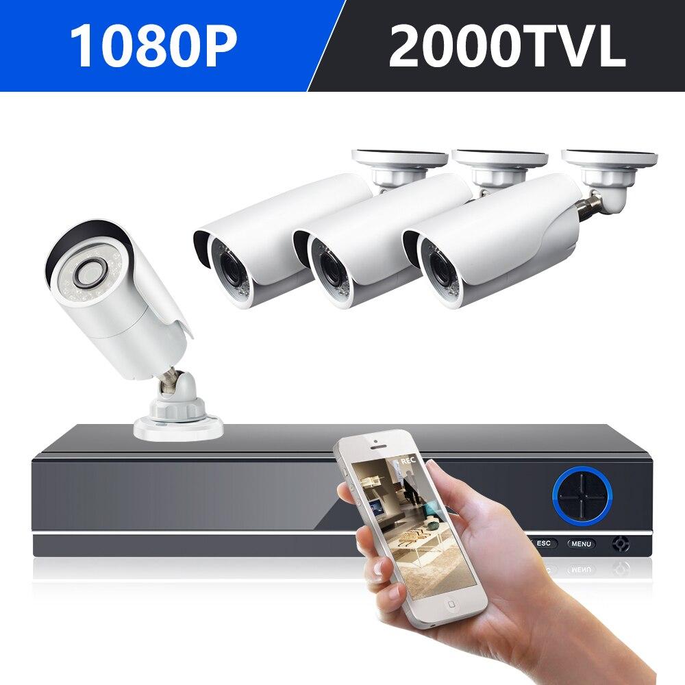 DEFEWAY 1080 p HDMI DVR 2000TVL 1080 p HD Extérieure de Sécurité à Domicile Système 8CH CCTV Vidéo Surveillance DVR Kit AHD 4 Caméra Ensemble