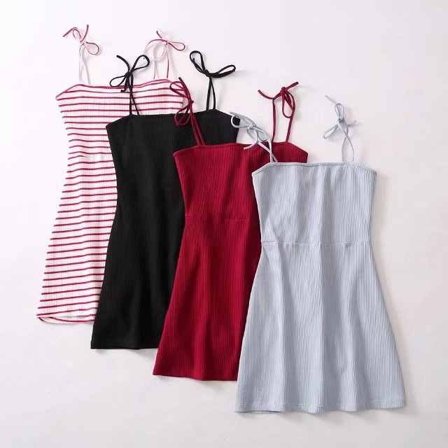 2019 Baru Musim Semi Dress Gaya Tali Bahu Stripe Dress Wanita Slip Strapless Gaun Temperamen Gaun Pendek