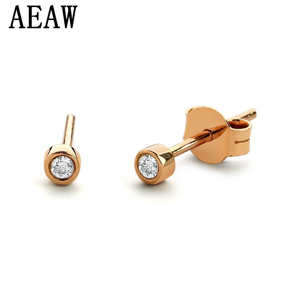 35c3e7f96d029 1.8mm Tiny Bezel Setting Diamond Stud Earrings in 14k Yellow Gold Genuine  Diamond Stud Earrings Push Backs Perfect Gift